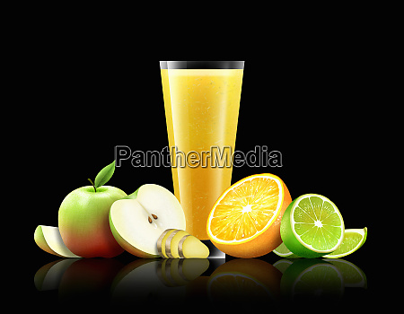 glass of orange apple lime and