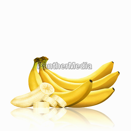 bunch of bananas and slices of