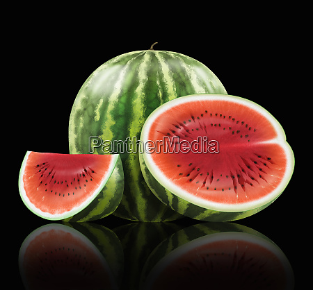 ganze und geschnittene wassermelone