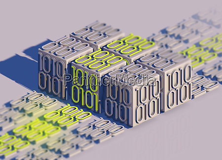 blocks of bright binary code data