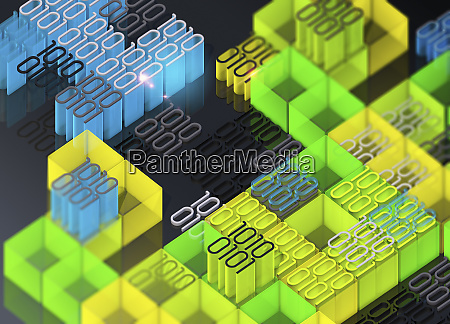 blocks of brightly coloured binary code