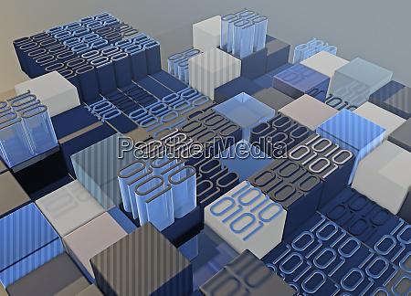 blocks of binary code data forming