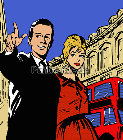 retro paar sightseeing in london