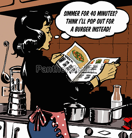 woman with thought bubble reading cookbook