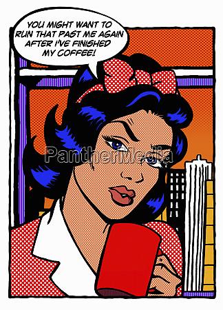 muede frau beim kaffee der um