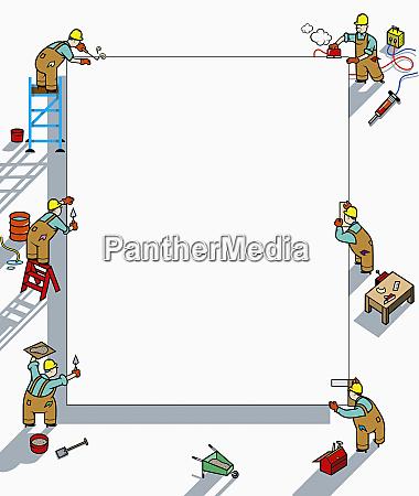 arbeiter arbeiten an blankem papier