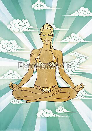 woman in bikini doing yoga
