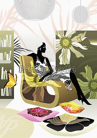 woman relaxing in modern livingroom
