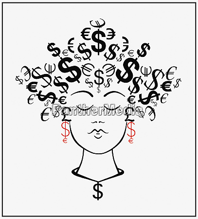 woman with currency symbols for hair