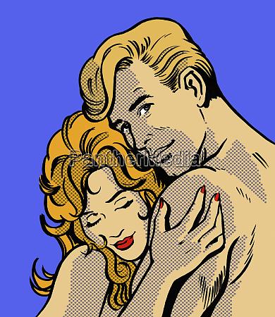 close up cartoon of nude couple