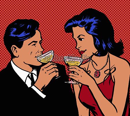 retro couple drinking champagne