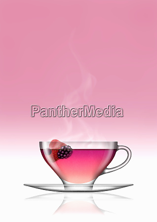 fruit tea in glass teacup and