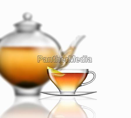 lemon tea glass teacup saucer and