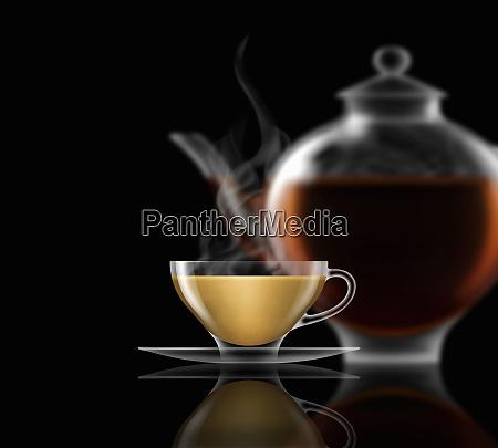 tea with milk glass teacup saucer