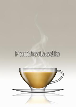 tea with milk in glass teacup