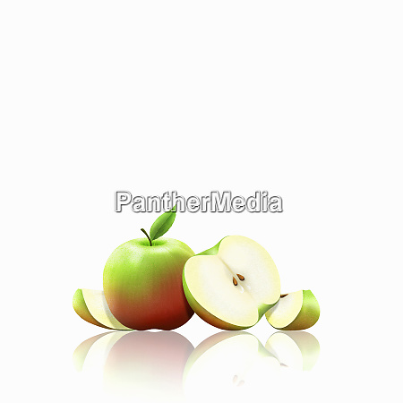 fresh apples whole halved and slices