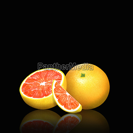 fresh pink grapefruit whole half and