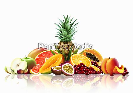range of fresh fruit whole halved