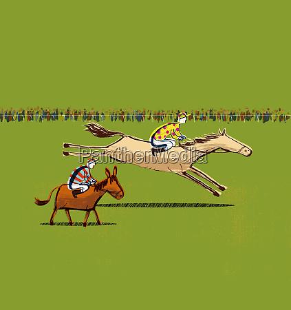 jockeys riding horse and donkey in