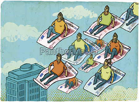 people riding on euro banknotes in