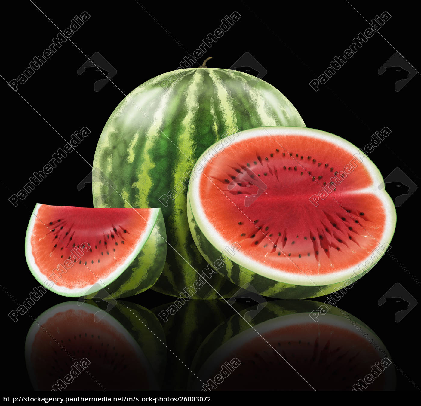 ganze, und, geschnittene, wassermelone - 26003072