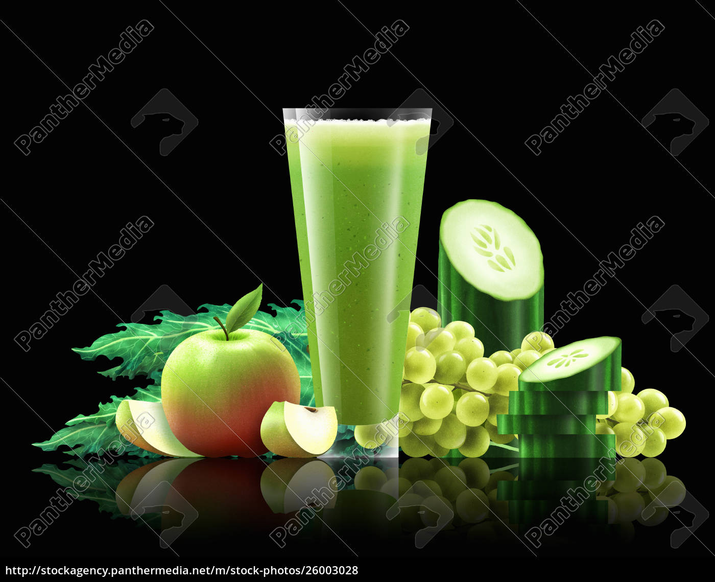 glas, apfel-, ballen-, gurken-und, trauben-smoothie - 26003028