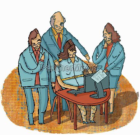 manager geben anweisungen an ueberarbeitete geschaeftsfrau