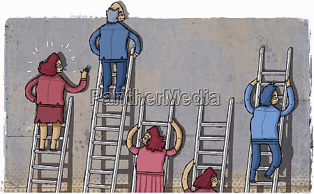 frustrated businesswomen on short ladders beside