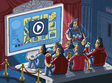 froehliches publikum geniessen unterhaltsames video auf