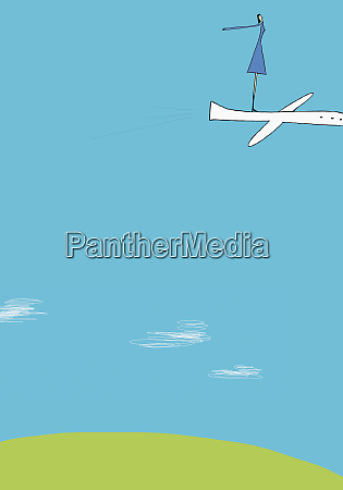 woman standing on flying airplane