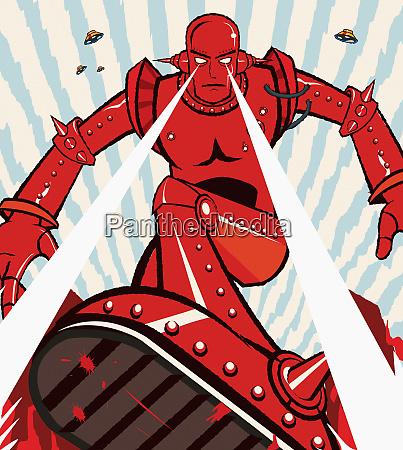 roter roboter attackiert mit balken aus