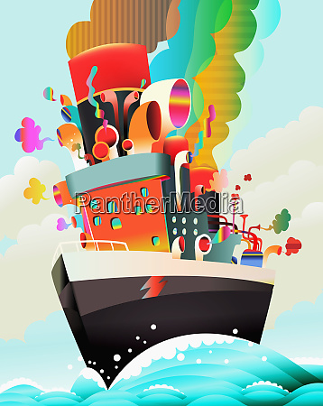 colorful psychedelic ship