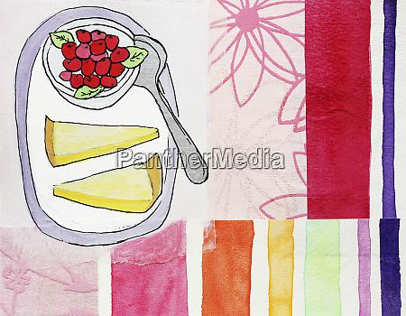 slices of lemon tart and berries