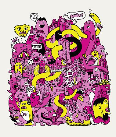 das doodle der monster und kreaturen