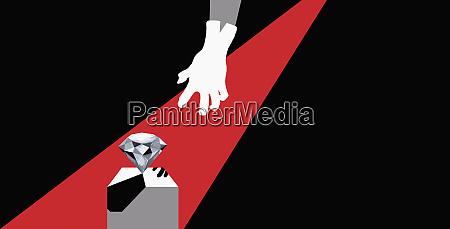 gliebte hand nach diamant