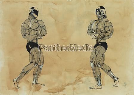 muskeln auf maennlichen bodybuilder
