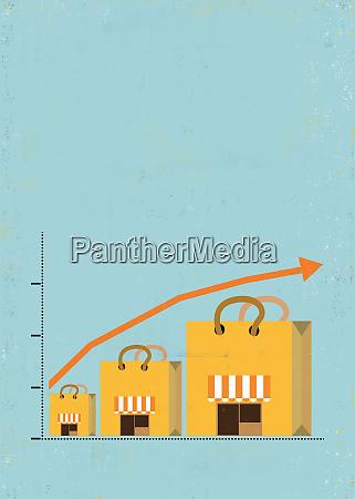 ascending line graph over shopping bag