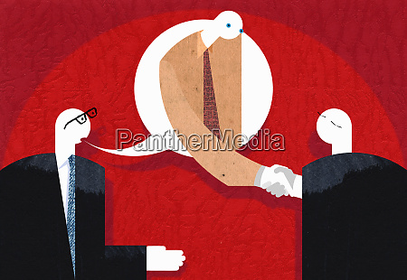 businessman in speech bubble shaking hands