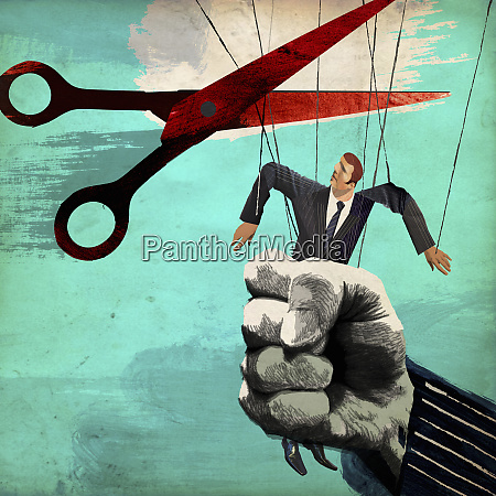 scissors cutting puppet strings from businessman