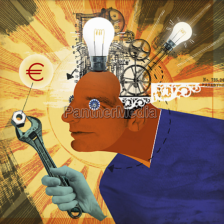 light bulbs and cogs inside of