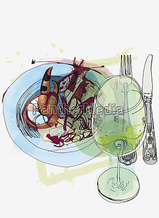 plate of seafood and glass of