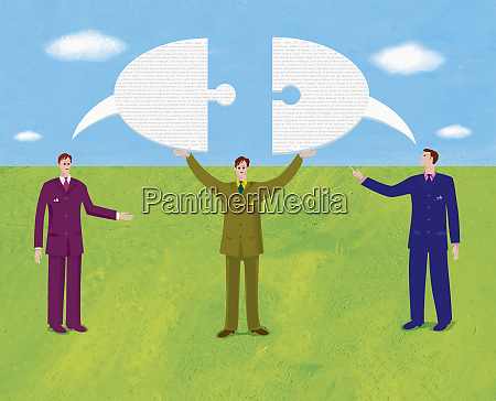 businessmen and speech bubble shaped as