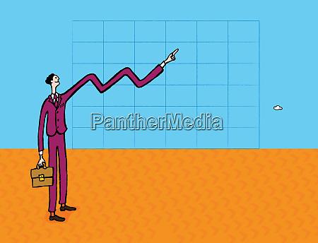 businessmans armformlinie auf grafik