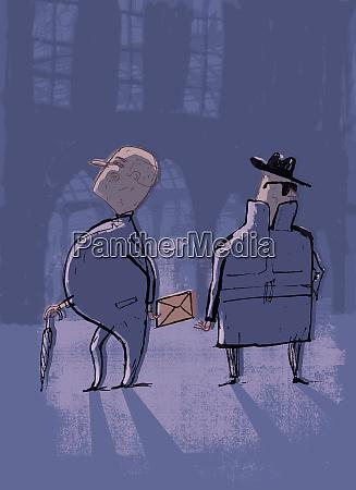 businessman bribing man in trench coat
