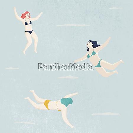 women wearing bikinis floating in sky