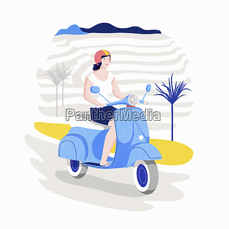 happy woman riding scooter on holiday