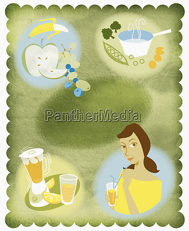 montage of woman and healthy food