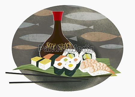 sushi sashimi und sojasauce