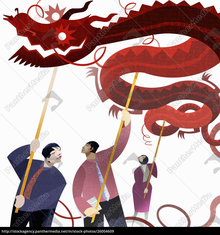 chinesische, geschäftsleute, unterstützen, drachen - 26004609
