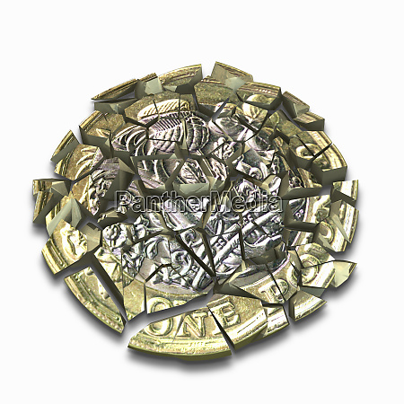 new british one pound coin shattered